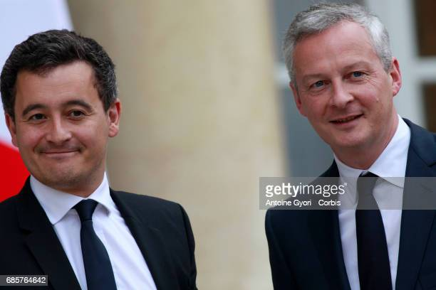 French Minister for Public accounts Gerald Darmanin and French minister of Economy Bruno Le Maire arrive at the Elysee presidential palace for the...