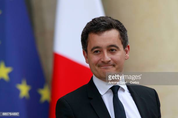 French Minister for Public accounts Gerald Darmanin arrive at the Elysee presidential palace for the first weekly cabinet meeting on May 18 2017 in...