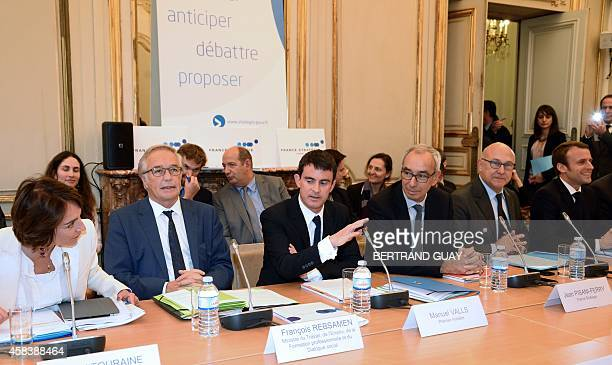 French Minister for Social Affairs Health and Women's Rights Marisol Touraine Labour Minister Francois Rebsamen Prime Minister Manuel Valls...