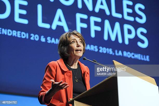 French minister for Social Affairs Health and Women's Rights Marisol Touraine speaks during the opening of the 4th Congress of the FFMPS on March 20...