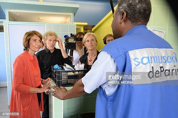 French minister for Social Affairs Health and Women's Rights Marisol Touraine Samu Social president Eric Pliez and French junior minister for...
