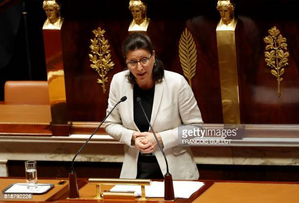 French Minister for Solidarity and Health Agnes Buzyn addresses deputies to present a bill allowing the government to change some policies in the...