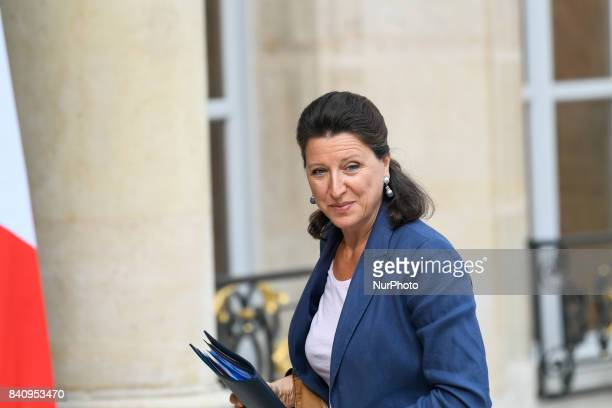 French Minister for Solidarity and Health Agnes Buzyn arrives for a cabinet meeting at the Elysee Palace in Paris on August 30 2017 in presence of...