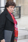 French Minister for Solidarity and Social Cohesion Roselyne Bachelot leaves the first weekly cabinet meeting of the new year on January 5 2011 in...