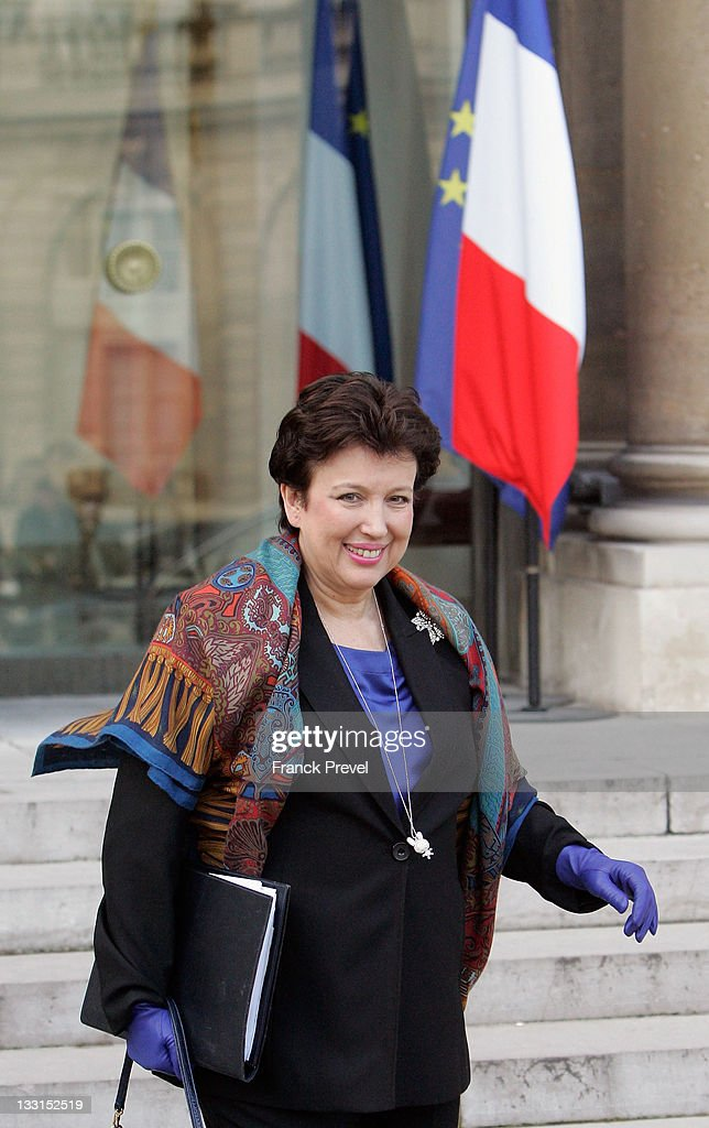 French Minister for Solidarity and Social Cohesion Roselyne Bachelot leaves the weekly cabinet meeting at Elysee Palace on January 19 2011 in Paris...