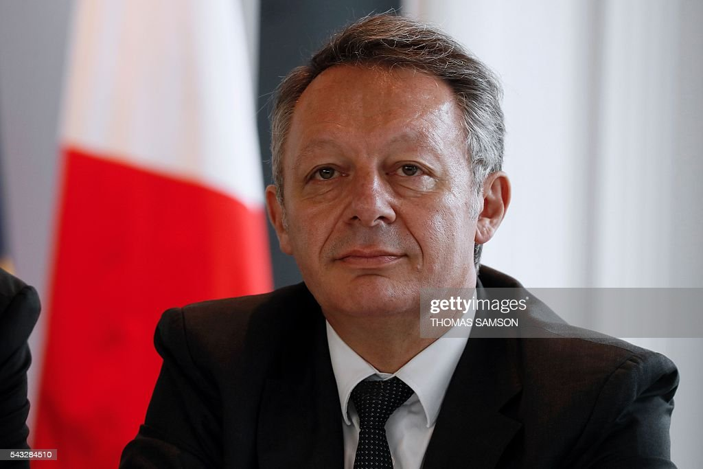French Minister for Sports Thierry Braillard looks on during a press conference on mechanical fraud, in Paris, on June 27, 2016. Thermal cameras will be used in this year's Tour de France to fight against motor cheats, French Minister of State for Sport Thierry Braillard announced on Monday. The cameras, which can detect a motor in a bicycle, have been developed by the Atomic Energy Commission (CEA) at the request of the French government. SAMSON