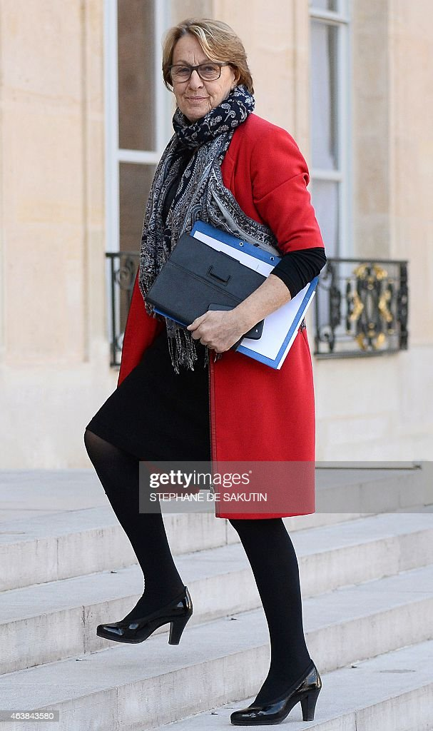 French minister for State Reform and Public Services <a gi-track='captionPersonalityLinkClicked' href=/galleries/search?phrase=Marylise+Lebranchu&family=editorial&specificpeople=794442 ng-click='$event.stopPropagation()'>Marylise Lebranchu</a> arrives for a meeting at the Elysee Palace in Paris on February 19, 2015 as FrenchPresident invites for a lunch newly elected heads of French metropoles. AFP PHOTO / STEPHANE DE SAKUTIN