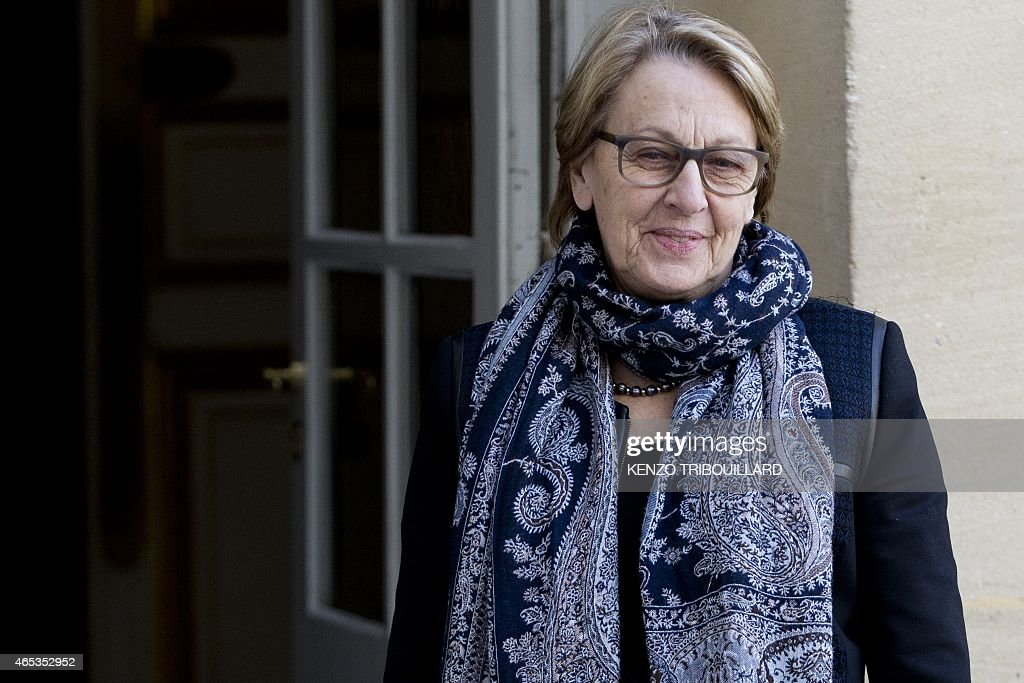 French minister for State Reform and Public Services <a gi-track='captionPersonalityLinkClicked' href=/galleries/search?phrase=Marylise+Lebranchu&family=editorial&specificpeople=794442 ng-click='$event.stopPropagation()'>Marylise Lebranchu</a> arrives for a meeting at the Hotel Matignon in Paris, on March 06, 2015.