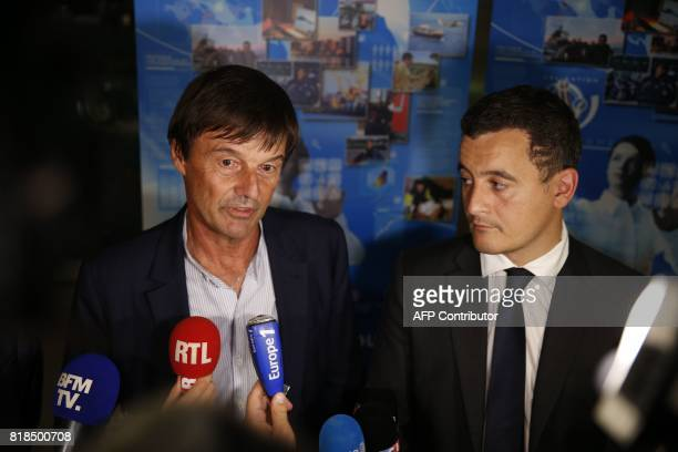 French Minister for the Ecological and Inclusive Transition Nicolas Hulot and French Minister of Public Action and Accounts Gerald Darmanin address...