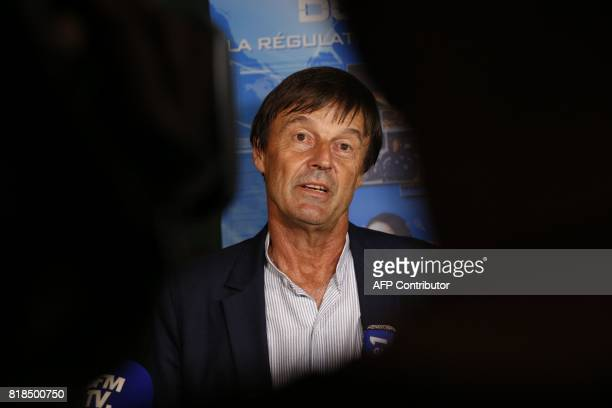 French Minister for the Ecological and Inclusive Transition Nicolas Hulot addresses the media after scales of sea turtles were seized by the French...