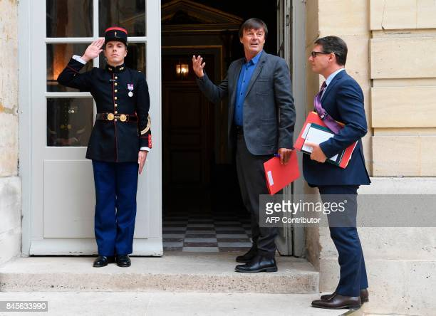 French Minister for the Ecological and Inclusive Transition Nicolas Hulot arrives at the Hotel Matignon in Paris on September 11 2017 for a meeting...