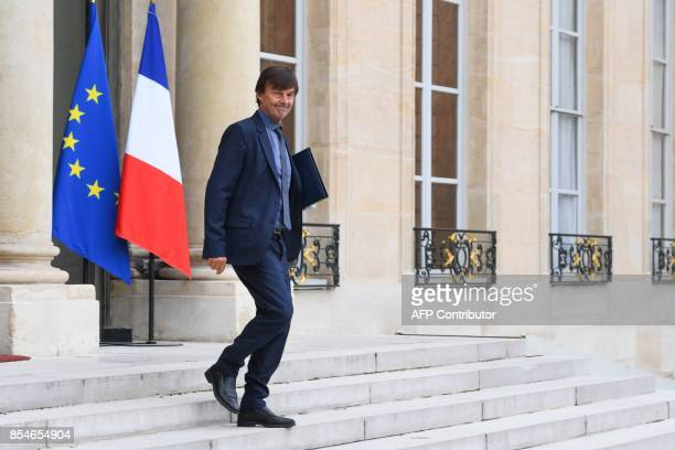 French Minister for the Ecological and Inclusive Transition Nicolas Hulot leaves the Elysee palace following the weekly Cabinet meeting on September...