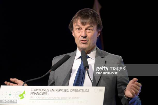 French Minister for the Ecological and Inclusive Transition Nicolas Hulot addresses the French Business Climate Pledge event at the French Employers...