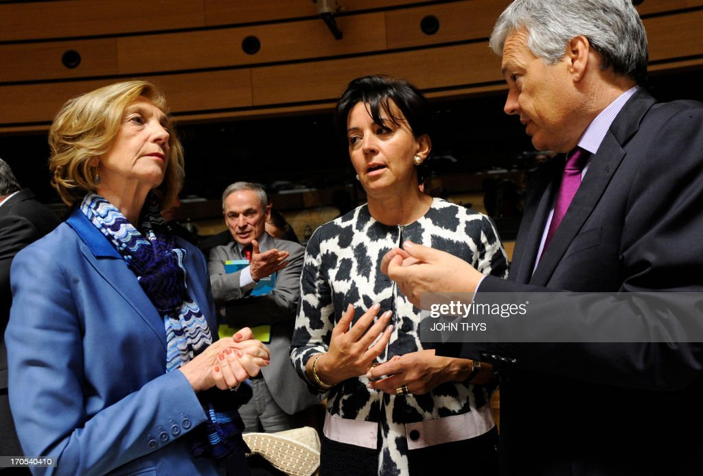 French minister for Trade Nicole Bricq (L) talks with State secretary of German Ferderal Ministry of economy and technologies Anne Ruth Herkes (C) and Irish Minister for jobs, Enterprise and Innovation Richard Bruton (2ndL) prior to a EU Foreign Affairs Trade council meeting on June 14, 2013 at the Kirchberg conference center in Luxembourg.