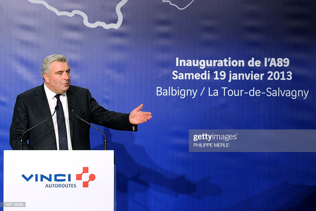 French minister for Transports and Maritime Economy Frederic Cuvillier speaks on January 19, 2013 during the inauguration ceremony for the openning of the first section of the A89 tollway, in Balbigny, France's Loire valley. The new route is the first transversal highway across France and links Bordeaux to Lyon.