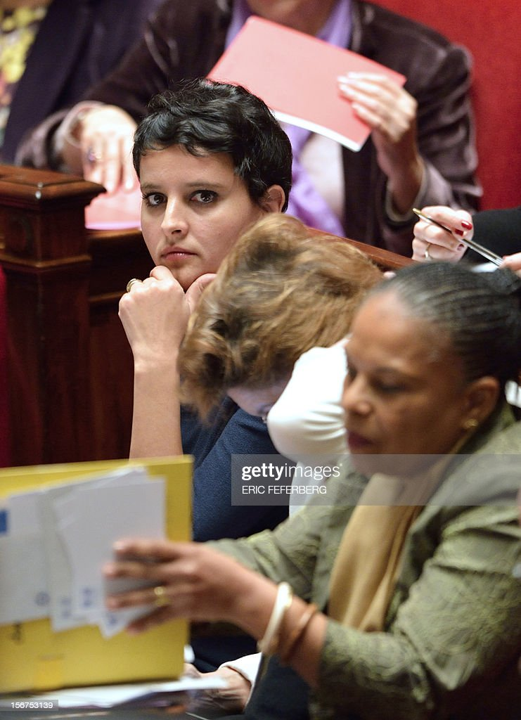 French Minister for Women's Rights and Government Spokeperson, Najat Vallaud-Belkacem (C) listens during the weekly session of questions at the National Assembly on November 20, 2012 in Paris. AFP PHOTO ERIC FEFERBERG