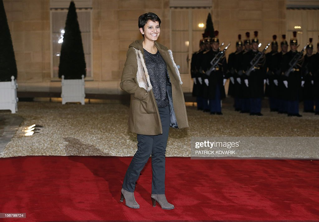 French Minister for Women's Rights and Government Spokeperson, Najat Vallaud-Belkacem arrives at the Elysee palace in Paris, before a state dinner as part of a two-day state visit of Italian President Giorgio Napolitano, on November 21, 2012. AFP PHOTO / PATRICK KOVARIK