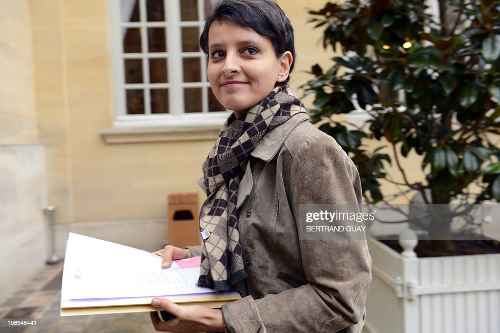 French Minister for Women's Rights and Government Spokeperson, Najat Vallaud-Belkacem looks on upon her arrival on January 4, 2013 at the Hotel Matignon in Paris, prior to attend with French ministers a seminar focused on French government's agenda for the coming year.