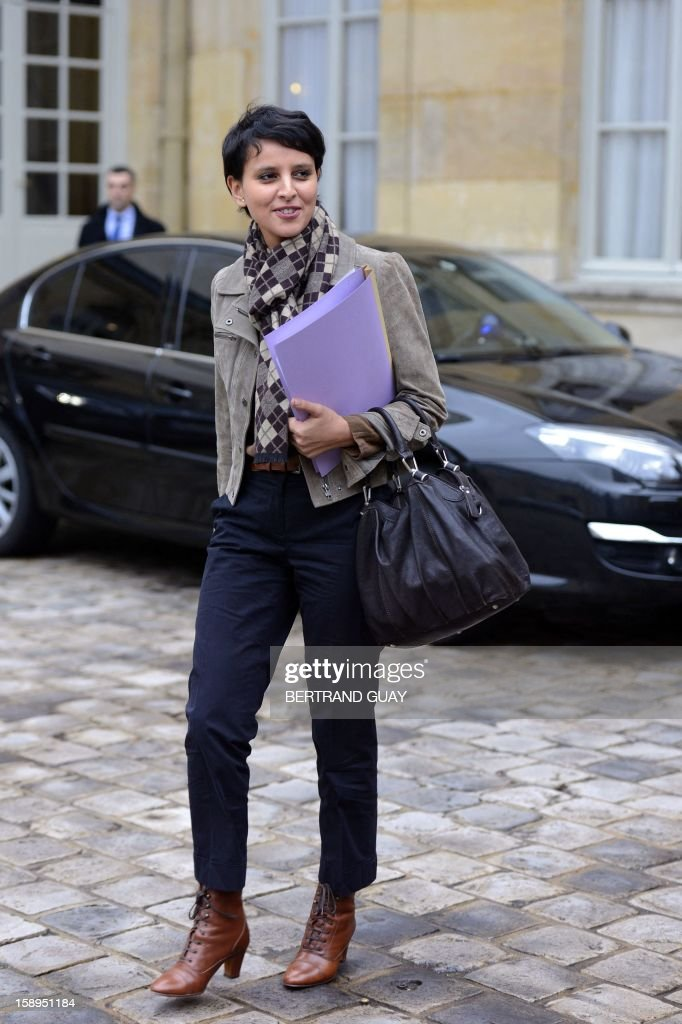 French Minister for Women's Rights and Government Spokeperson, Najat Vallaud-Belkacem arrives to take part in a government seminar focusing on the government's agenda for the coming year on January 4, 2013 at the Hotel Matignon in Paris. AFP PHOTO BERTRAND GUAY