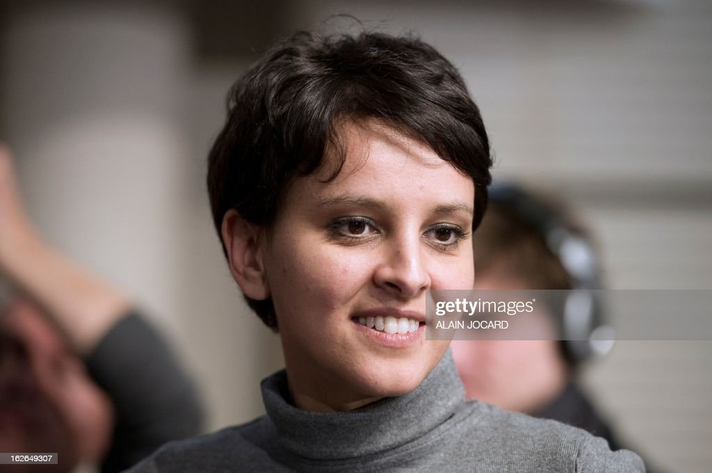 French Minister for Women's Rights and Government Spokeperson, Najat Vallaud-Belkacem is pictured on February 25, 2013 in Vouneuil-sous-Biard near Poitiers during a debate on women entrepreneurship. AFP PHOTO/ ALAIN JOCARD