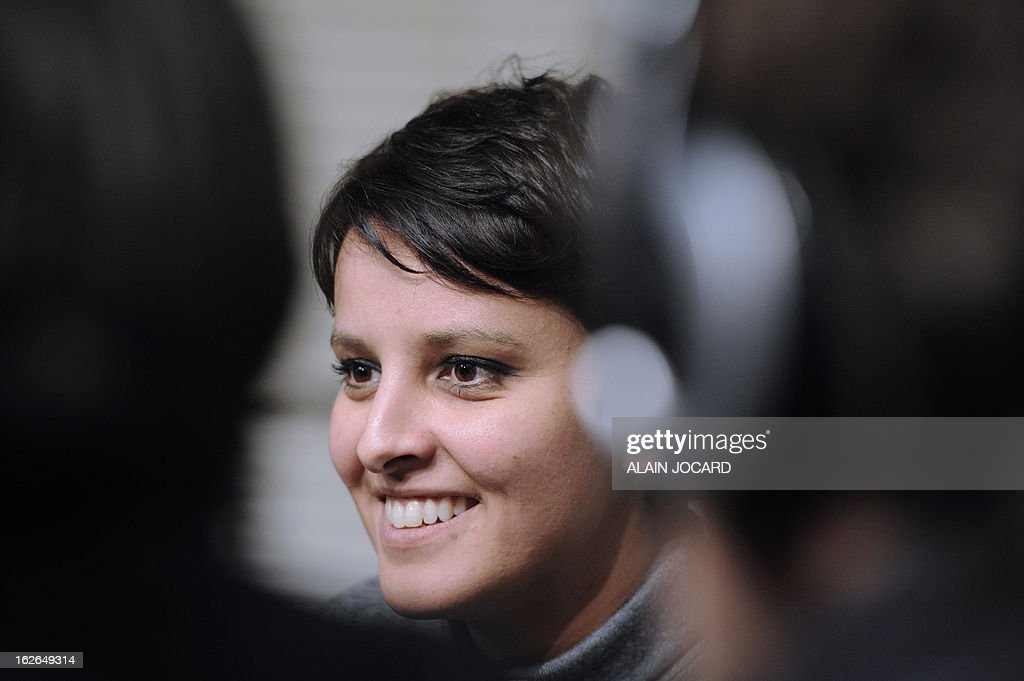 French Minister for Women's Rights and Government Spokeperson, Najat Vallaud-Belkacem is pictured on February 25, 2013 in Vouneuil-sous-Biard near Poitiers during a debate on women entrepreneurship.