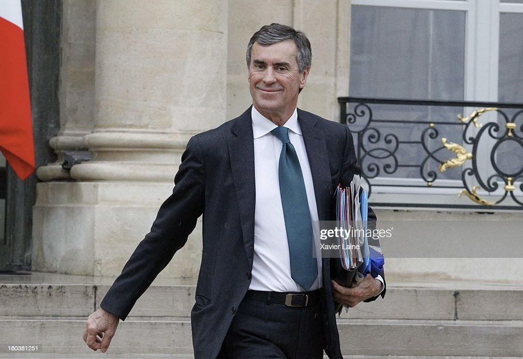 French Minister Jerome Cahuzac departure to French Cabinet Meeting at Elysee Palace on January 30, 2013 in Paris, France.