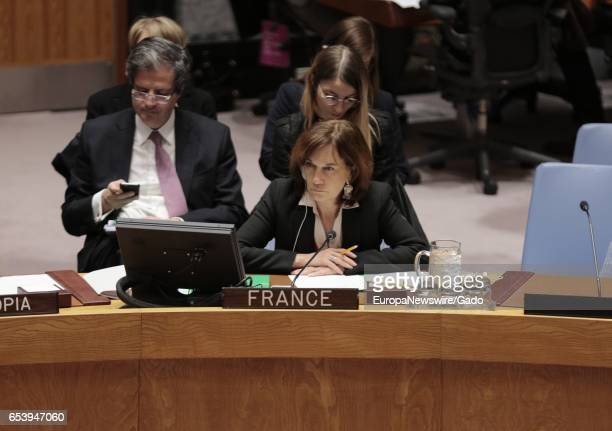 French minister Laurence Rossignol during the United Nations Security Council open debate on 'Trafficking in persons in conflict situations forced...