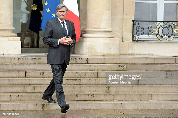 French Minister of Agriculture and Forestry Gouvernment Spokesman Stephane Le Foll leaves the Elysee Palace after the weekly cabinet meeting at...