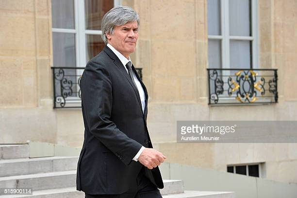 French Minister of Agriculture and Forestry Gouvernment Spokesman Stephane Le Foll leaves the Elysee Palace after the weekly cabinet meeting on March...