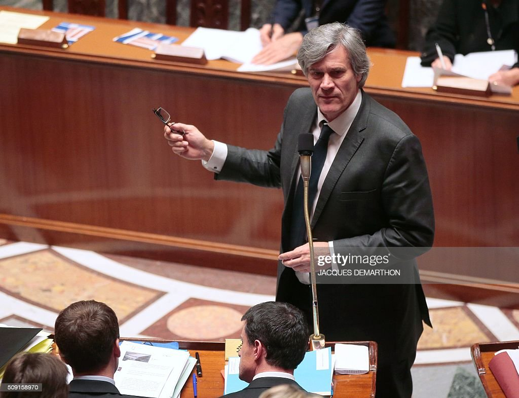 French Minister of Agriculture and government spokesperson Stephane Le Foll gestures as he speaks during a session of questions to the government at the French National Assembly in Paris on February 9, 2016. / AFP / JACQUES DEMARTHON