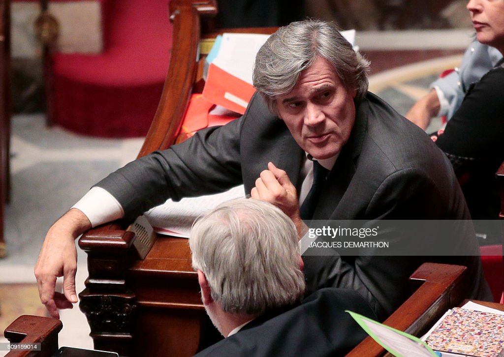 French Minister of Agriculture and government spokesperson Stephane Le Foll looks on during a session of questions to the government at the French National Assembly in Paris on February 9, 2016. / AFP / JACQUES DEMARTHON