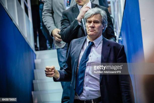 French Minister of Agriculture Stephane Le Foll visits the fair of Agriculture at Paris Expo Porte de Versailles on February 27 2017 in Paris France...