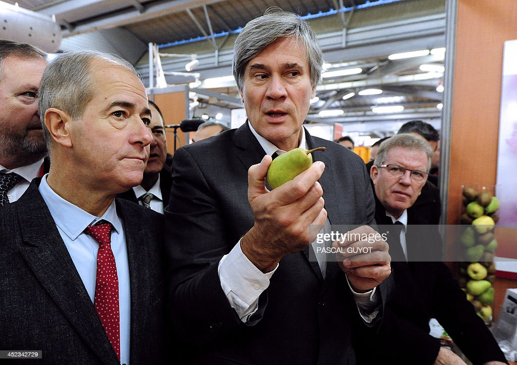 French Minister of Agriculture, Stéphane Le Foll (C) holds a pear next to the president of the Regional Council of Languedoc-Roussillon <a gi-track='captionPersonalityLinkClicked' href=/galleries/search?phrase=Christian+Bourquin&family=editorial&specificpeople=862462 ng-click='$event.stopPropagation()'>Christian Bourquin</a> (L) during his visit at the Sitevi international exhibition for the vine-wine, fruit-vegetable sectors, olive growing at the exibition hall in Montpellier, southern France, on November 28, 2013.