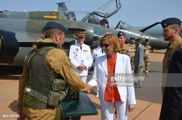 French Minister of Army Forces Florence Parly meets with French officers of the Barkhane counterterrorism operation in Africa's Sahel region at the...