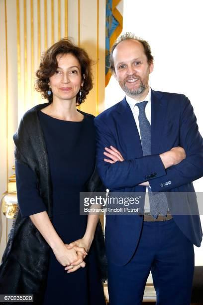 French Minister of Culture and Communication Audrey Azoulay and President de 'l'Academie des Molieres' JeanMarc Dumontet present the 29th Molieres...
