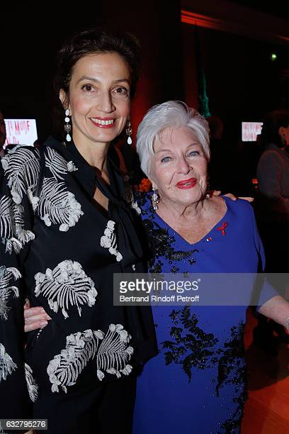 French Minister of Culture and Communication Audrey Azoulay and Line Renaud attend the Sidaction Gala Dinner 2017 Haute Couture Spring Summer 2017...
