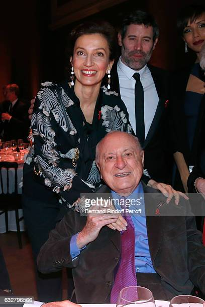 French Minister of Culture and Communication Audrey Azoulay Pierre Berge and Jalil Lespert attend the Sidaction Gala Dinner 2017 Haute Couture Spring...