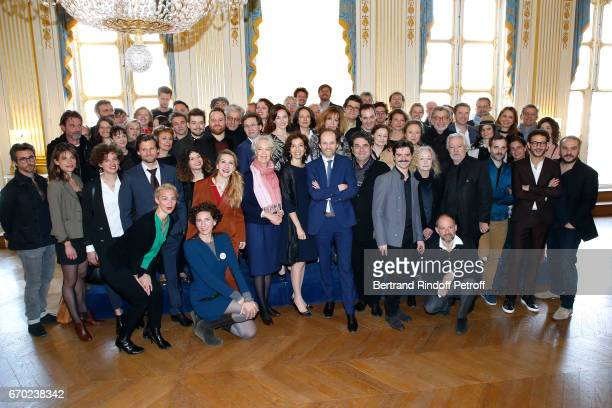 French Minister of Culture and Communication Audrey Azoulay President de 'l'Academie des Molieres' JeanMarc Dumontet and all the Nominee attends the...