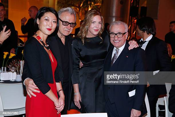 French minister of Culture and Communication Fleur Pellerin Actor Harvey Keitel Pianist Diana Krall and Martin Scorsese attend the Tribute to...