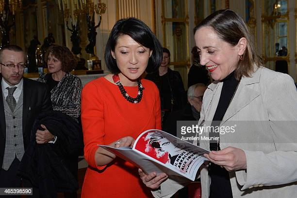 French Minister of Culture and Communication Fleur Pellerin and French actress Dominique Blanc attend the launch of the 17th 'Printemps des Poetes'...