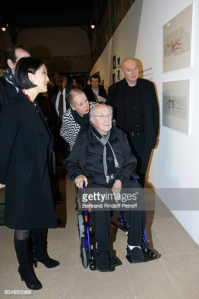 French minister of Culture and Communication Fleur Pellerin Architect Claude Parent his wife Naad and Architect Jean Nouvel attend the 'Jean Nouvel...