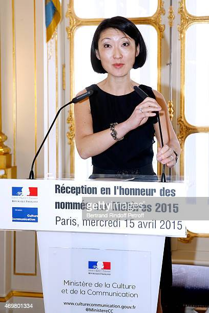 French minister of Culture and Communication Fleur Pellerin attends the Reception in honor of the Nominated Molieres 2015 at Ministere de la Culture...
