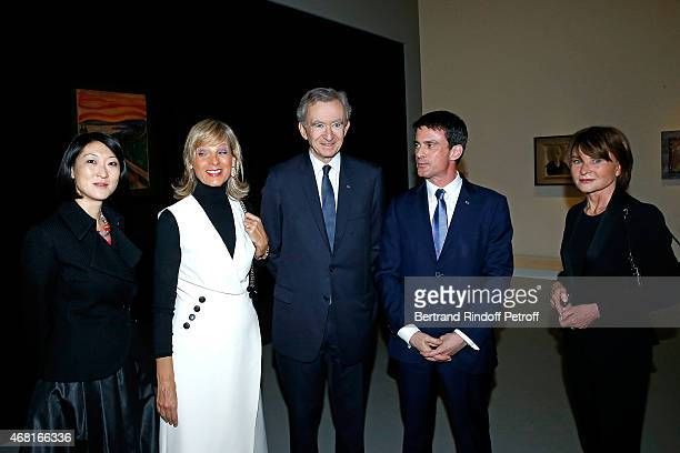French minister of Culture and Communication Fleur Pellerin Helene Arnault her husband Owner of LVMH Luxury Group Bernard Arnault French Prime...