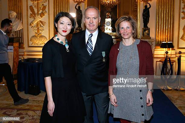 French minister of Culture and Communication Fleur Pellerin Michael Keaton and CEO Warner France Iris Knobloch attend Actor Michael Keaton received...