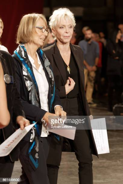 French Minister of Culture Francoise Nyssen and Tonie Marshall attend the opening ceremony of 9th Film Festival Lumiere In Lyon on October 14 2017 in...