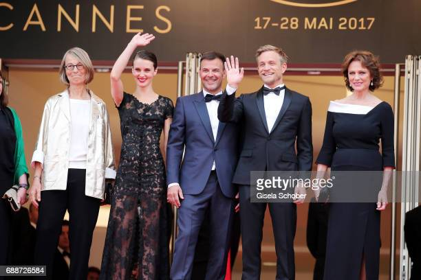 French minister of Culture Francoise Nyssen Marine Vacth director Francois Ozon Jeremie Renier and Jacqueline Bisset attend 'Amant Double ' Red...