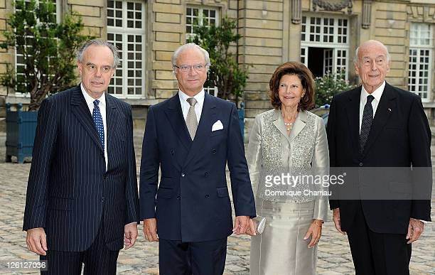 French Minister of Culture Frederic Mitterrand King Carl XVI Gustaf of Sweden Queen Silvia of Sweden and Former French president Valery Giscard...