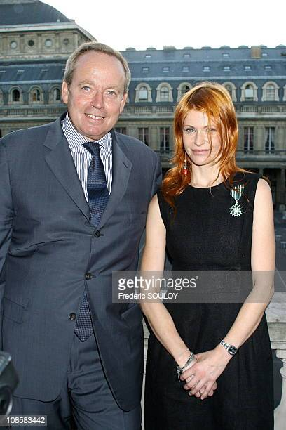French Minister of Culture Renaud Donnedieu de Vabres and Axelle Red in Paris France on September 06 2006
