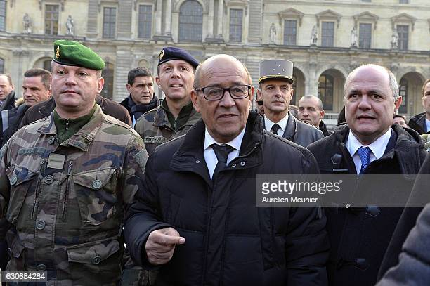 French Minister of Defence Jean Yves Le Drian and French Minister of Interior Bruno Le Roux visit the French armed forces and Police forces before...