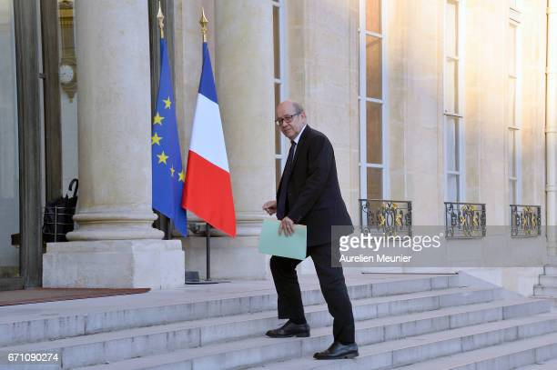 French Minister of Defense Jean Yves Le Drian arrives at Elysee Palace for a defense council on April 21 2017 in Paris France One police officer has...